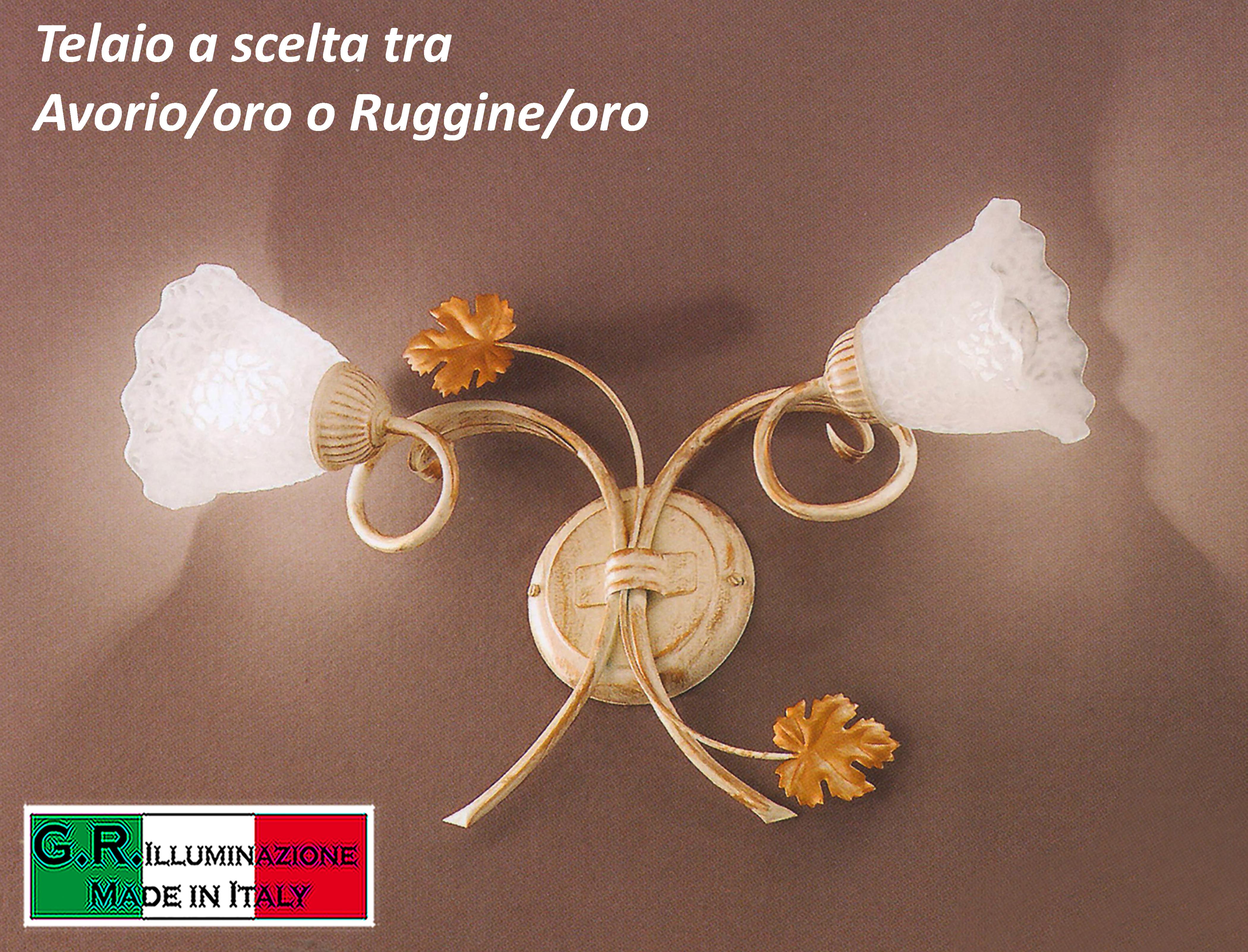 Lampada da parete applique in ferro battuto luci avorio o