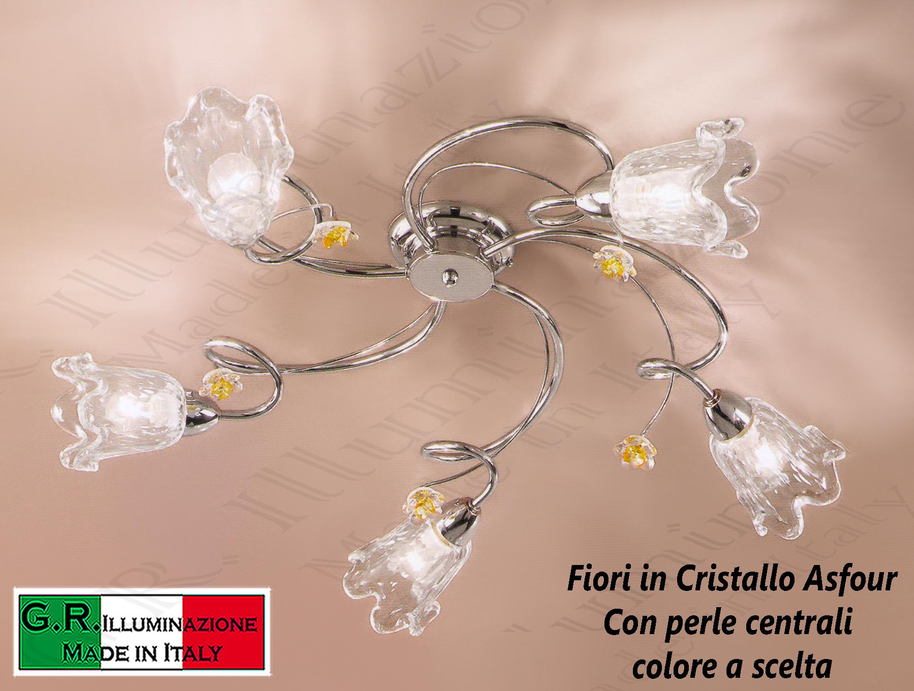 Plafoniera Fiori Murano : Lampadario plafoniera soffitto moderna cromata luci cromo