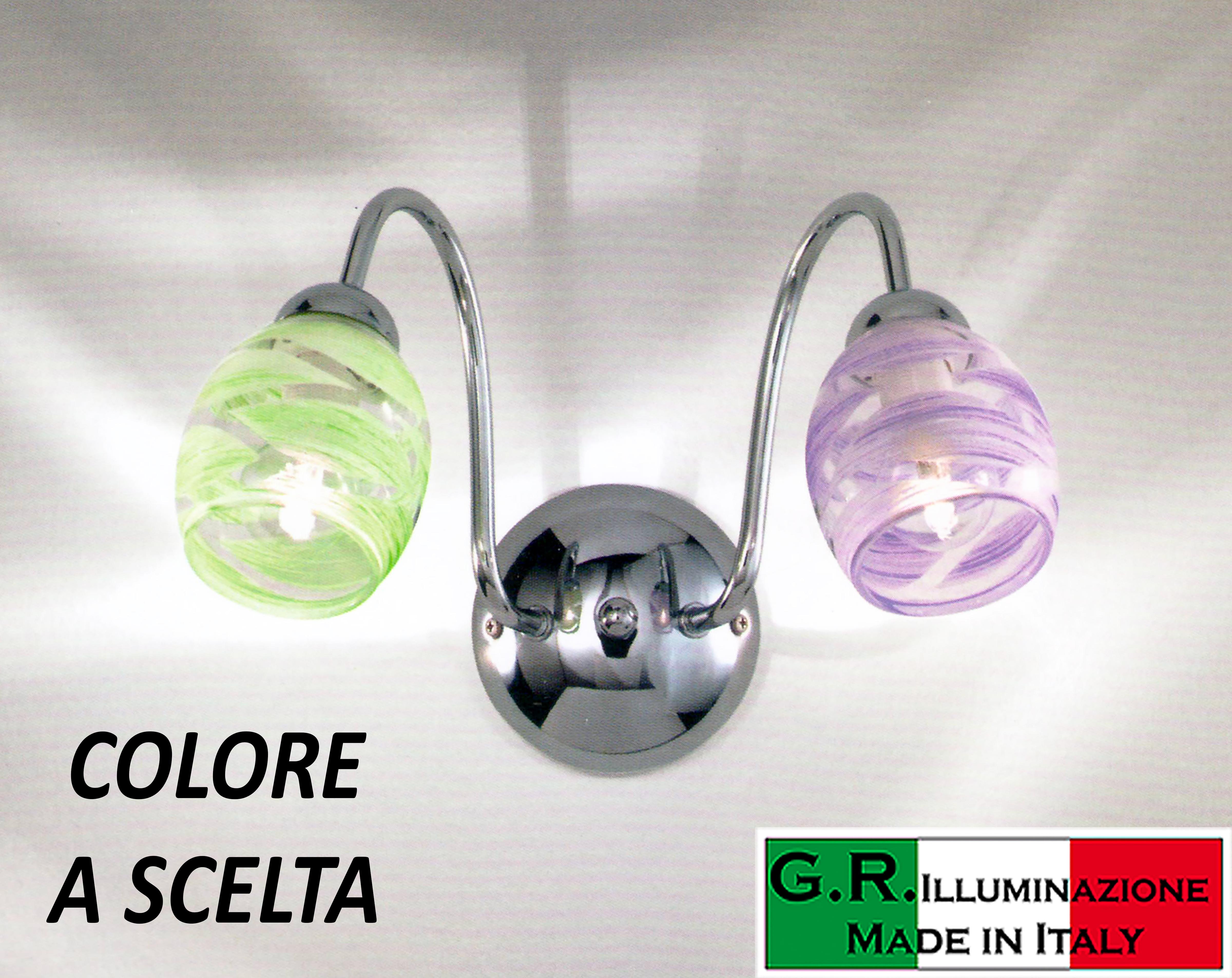 Lampada da parete applique moderna cromata luci cromo cucina
