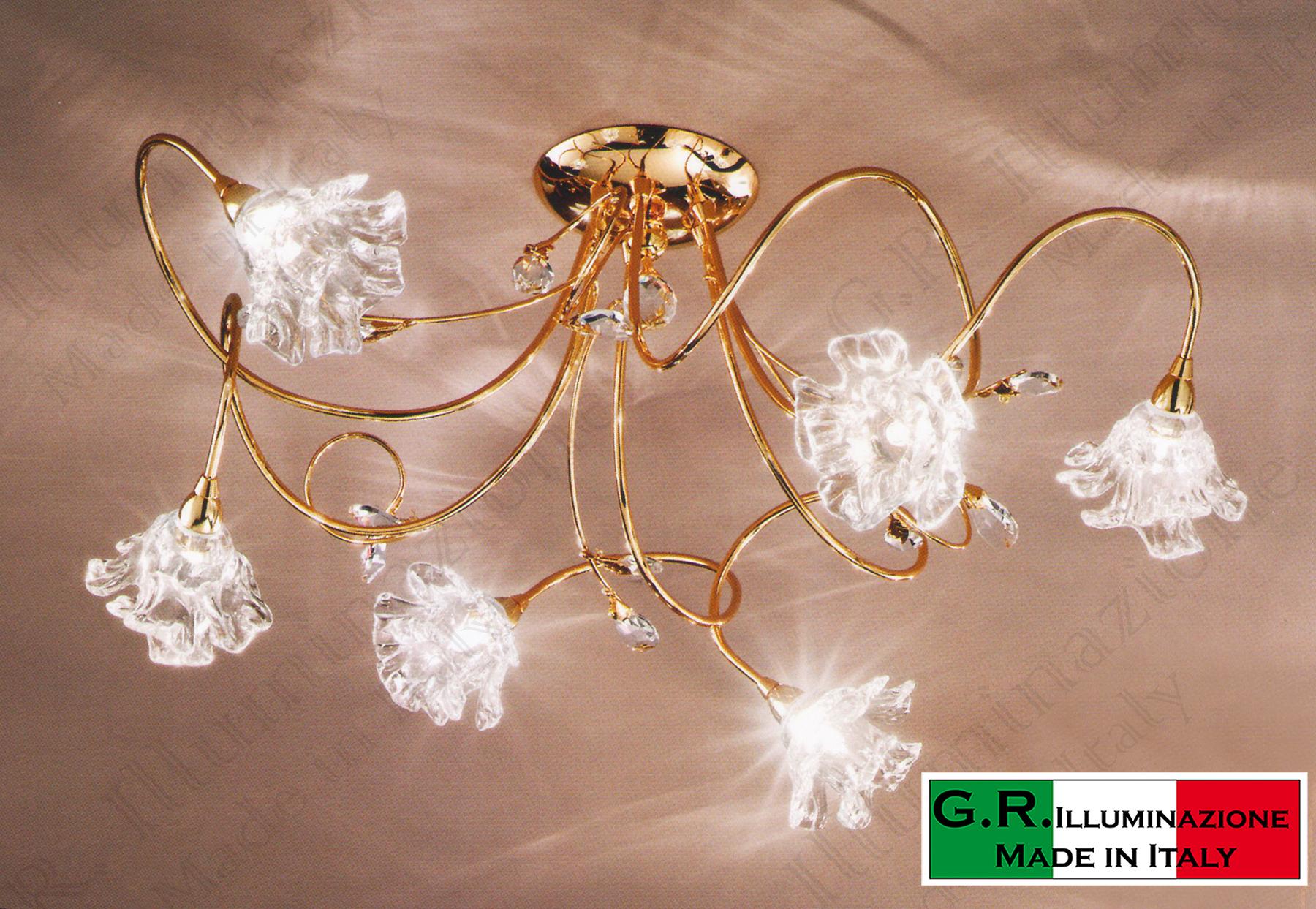 Plafoniera Per Bagno Murano : Lampadario plafoniera moderna soffitto luci bagno oro cristallo