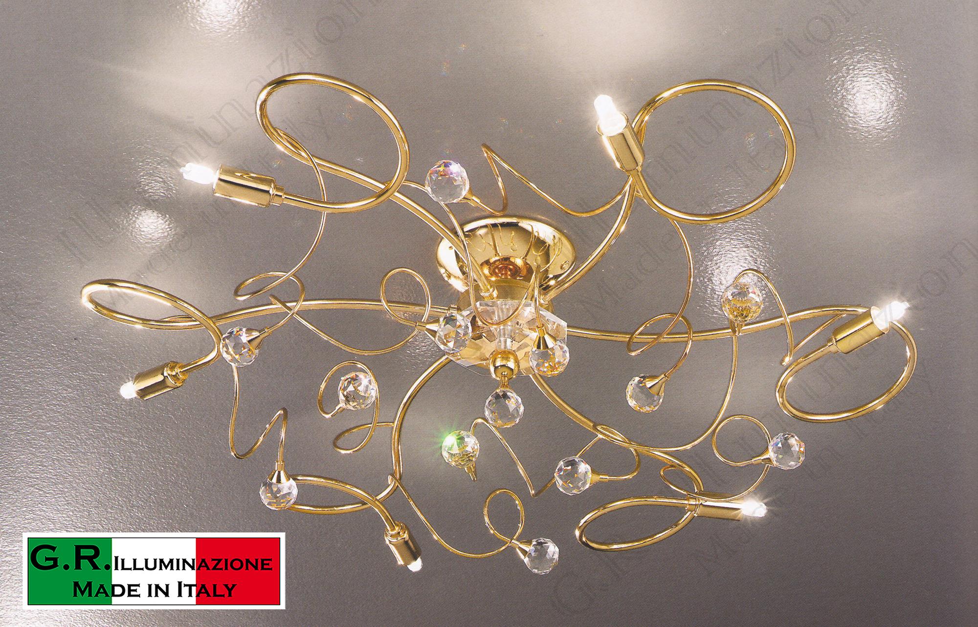 Plafoniera Fiori : Lampadario plafoniera soffitto moderno cristallo 6 luci oro 24 k