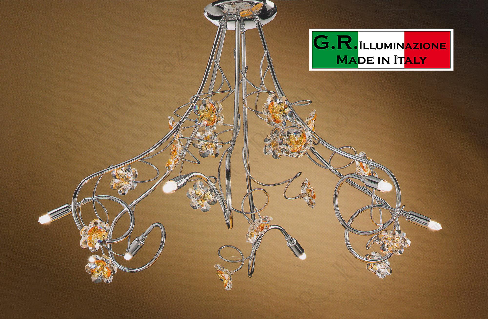 Plafoniera Fiori Cristallo : Lampadario plafoniera soffitto moderno l cromato cristallo