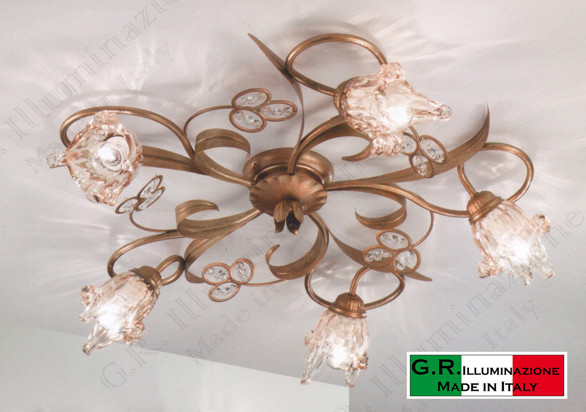 Plafoniera Per Bagno Murano : Acquista octopus plafoniera in vetro bianco di murano lampade
