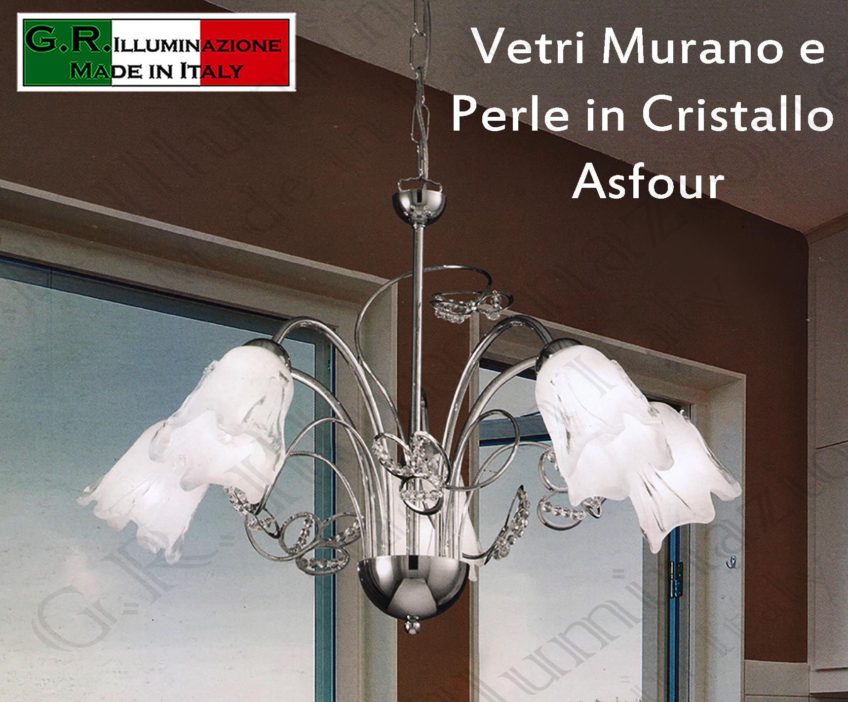 Lampadario Bianco E Cristallo : Lampadario moderno cromato luci sospensione cromo cristallo