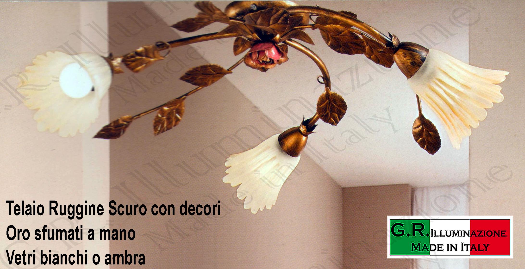 Lampadari Plafoniere Rosse : Lampadario plafoniera in ferro battuto luci ruggine oro cucina