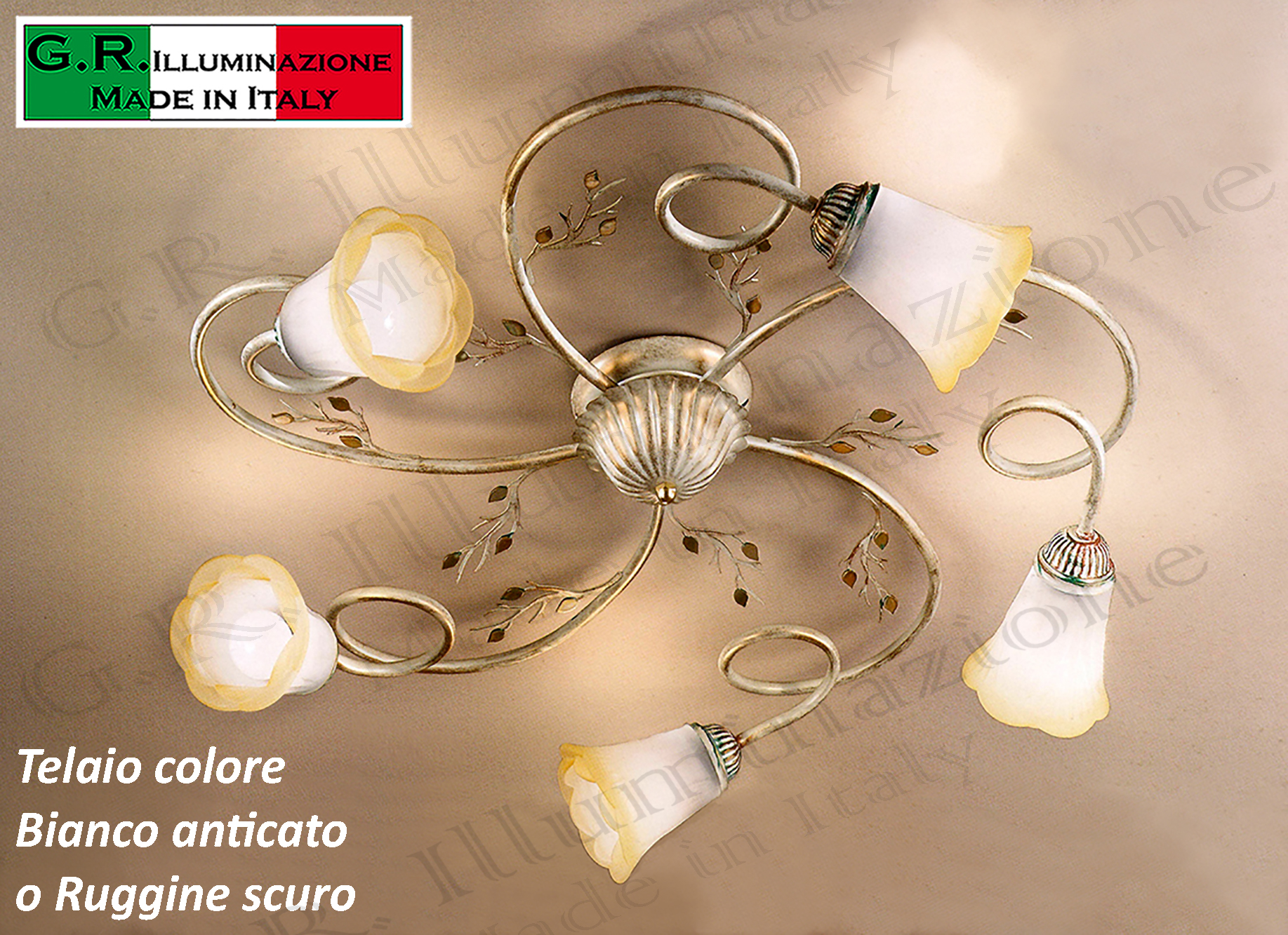 Lampadario Plafoniera Rustico Ferro Battuto : Lampadario plafoniera in ferro battuto luci bianca o