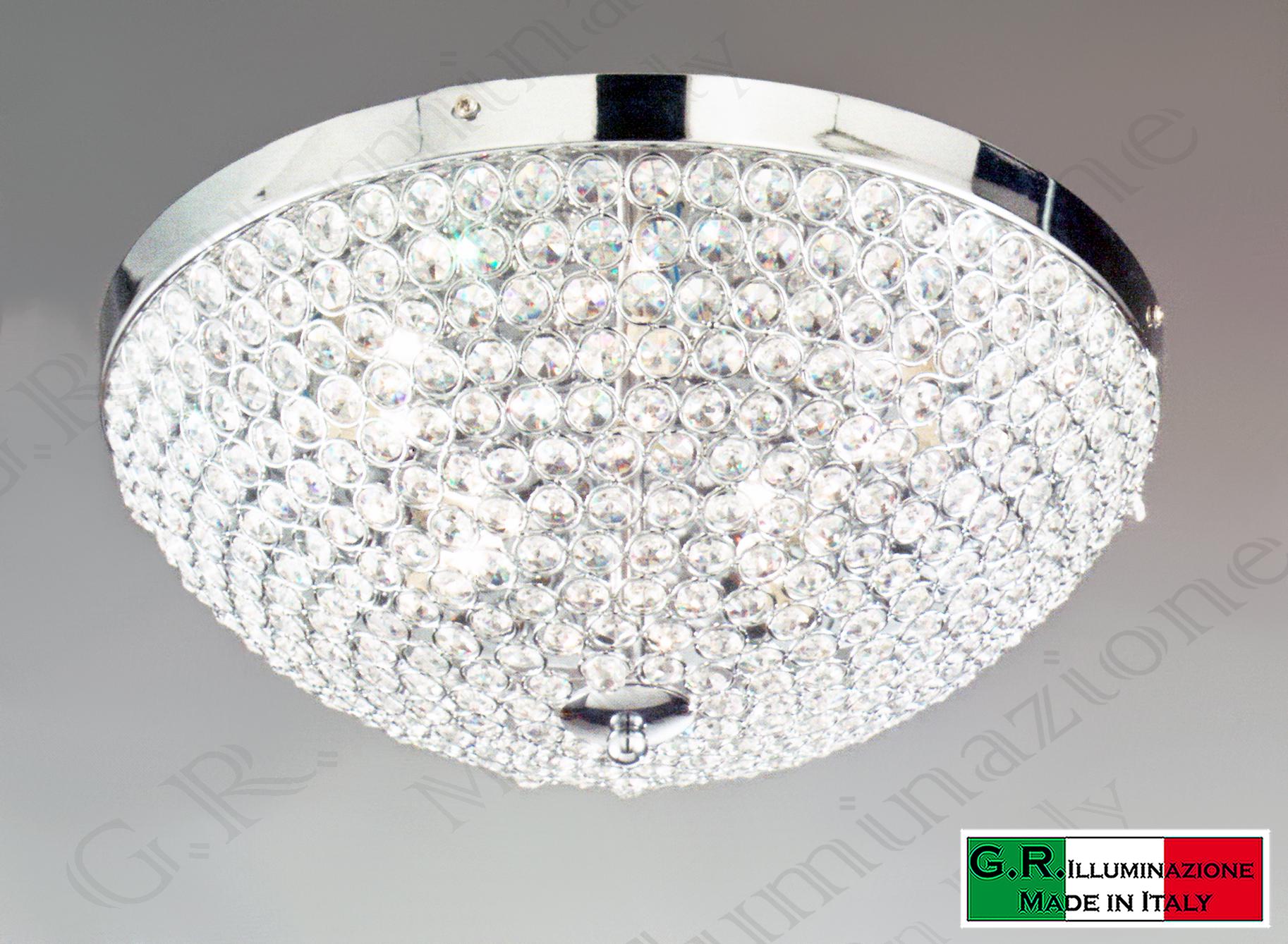Plafoniere Soffitto Cristallo : Lampadario plafoniera soffitto moderna cromata luci cromo